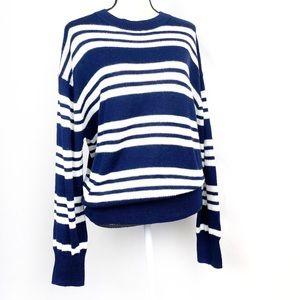 Abound Navy White Stripe Crew Neck Sweater